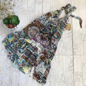 Elan USA halter patchwork floral print dress med